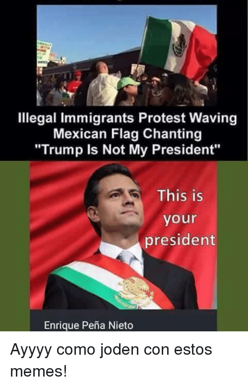 "Enrique Peña Nieto: Illegal immigrants Protest Waving  Mexican Flag Chanting  ""Trump is Not My President""  This is  your  president  Enrique Pena Nieto Ayyyy como joden con estos memes!"