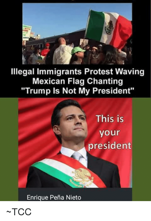 "Enrique Peña Nieto: Illegal Immigrants Protest Waving  Mexican Flag Chanting  ""Trump is Not My President""  This is  your  president  Enrique Pena Nieto ~TCC"