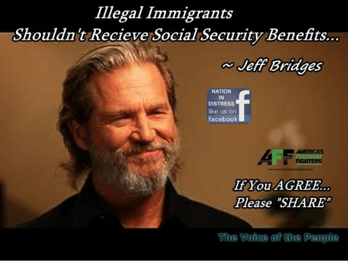 """Memes, 🤖, and Social Security: Illegal Immigrants  Shouldnt Recieve Social Security Benefits..  Jeff Bridges  NATION  IN  DISTRESS  like us on  faceboolk  AII  If You AGREE.  Please """"SHARE  ACITOCIS  The  Voiee of the People"""