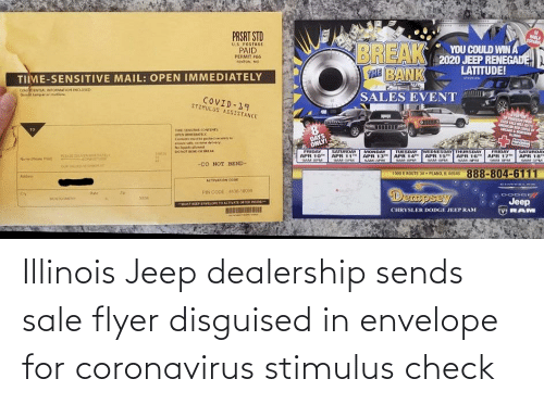 Jeep: Illinois Jeep dealership sends sale flyer disguised in envelope for coronavirus stimulus check