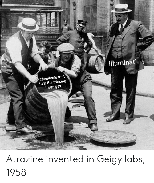 Labs: illuminati  chemicals that  turn the fricking  frogs gay Atrazine invented in Geigy labs, 1958