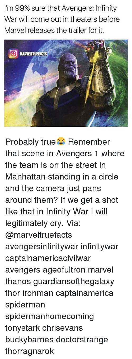 marvel thanos: I'm 99% sure that Avengers: Infinity  War will come out in theaters before  Marvel releases the trailer for it.  O MARVELTRUEFACTS Probably true😂 Remember that scene in Avengers 1 where the team is on the street in Manhattan standing in a circle and the camera just pans around them? If we get a shot like that in Infinity War I will legitimately cry. Via: @marveltruefacts avengersinfinitywar infinitywar captainamericacivilwar avengers ageofultron marvel thanos guardiansofthegalaxy thor ironman captainamerica spiderman spidermanhomecoming tonystark chrisevans buckybarnes doctorstrange thorragnarok