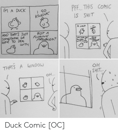 deal: IM A DUCK  PF. THIS COMIC  KWENK  IS SHIT  AND THATS JUST  SOMETHING WE  HAVE TO DEAL  WITH  GOT A  FUCKING  PROBLE?  GOTA  PRAMIN  THATS A WINDOW  OH  SHIT..  o ... Duck Comic [OC]