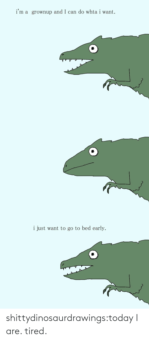 Im A: i'm a grownup and I can do whta i want.   i just want to go to bed early. shittydinosaurdrawings:today I are. tired.
