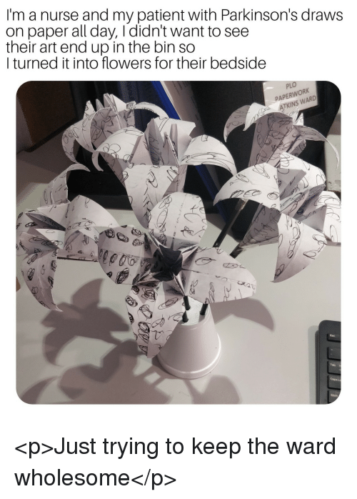 atkins: I'm a nurse and my patient with Parkinson's draws  on paper all day, Ididn't want to see  their art end up in the bin so  I turned it into flowers for their bedside  PLO  PAPERWORK  ATKINS WARD <p>Just trying to keep the ward wholesome</p>