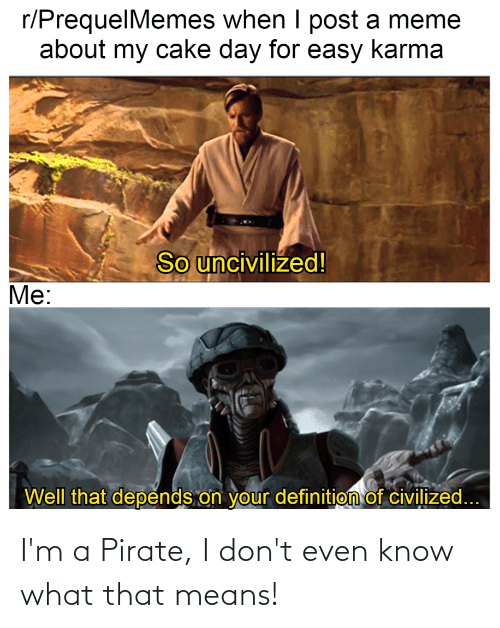 Pirate: I'm a Pirate, I don't even know what that means!