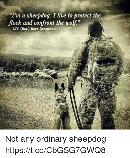 "Confrontable: Im a sheepdog. I live to protect the  flock and confront the wolf""  - LTC (Ret.) Dave Grossman  US Not any ordinary sheepdog https://t.co/CbGSG7GWQ8"