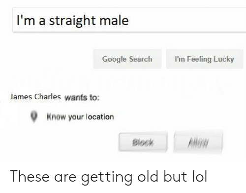 Google, Lol, and Google Search: I'm a straight male  I'm Feeling Lucky  Google Search  James Charles wants to  Know your location  Blo These are getting old but lol