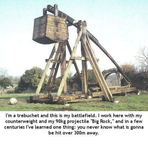 """trebuchets: I'm a trebuchet and this is my battlefield. work here with my  counterweight and my 90kg projectile """"Big Rock,"""" and in a few  centuries I've learned one thing: you never know what is gonna  be hit over 300m away."""