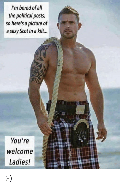 Sexis: I'm bored of all  the political posts,  so here's a picture of  a sexy Scot in a kilt...  You're  welcome  Ladies! ;-)