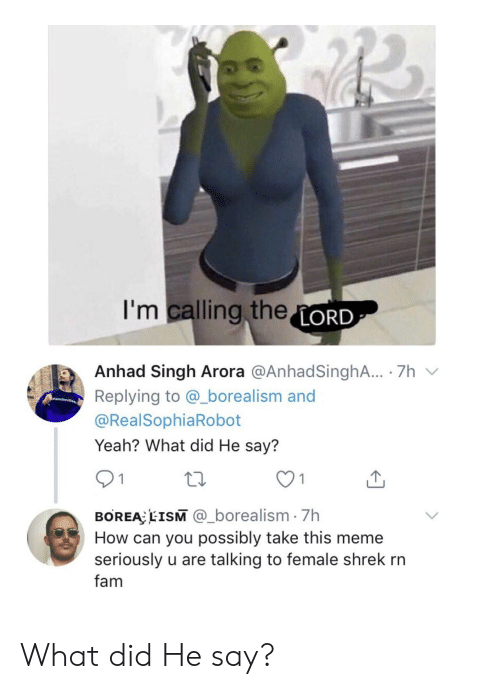 singh: I'm calling theLORD  Anhad Singh Arora @AnhadSinghA.. 7h  Replying to @_borealism and  amli  @RealSophiaRobot  Yeah? What did He say?  1  BOREA EISM @_borealism 7h  How can you possibly take this meme  seriously u are talking to female shrek rn  fam What did He say?
