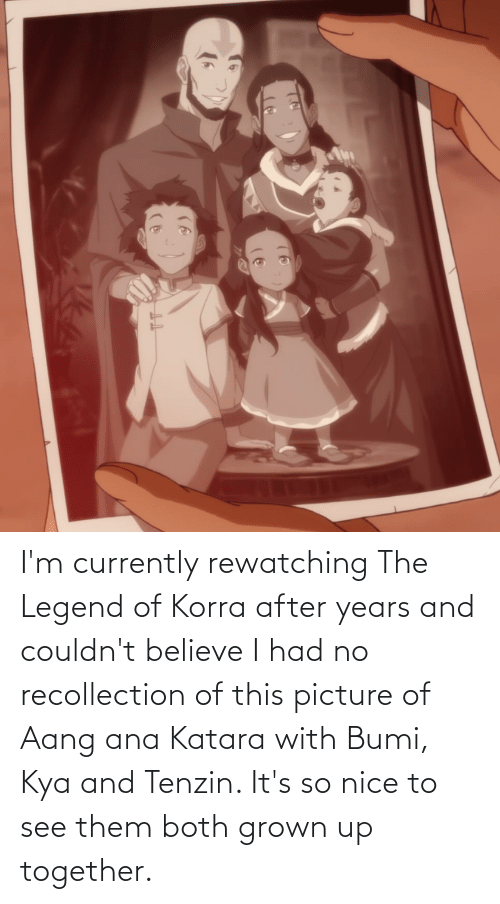 kya: I'm currently rewatching The Legend of Korra after years and couldn't believe I had no recollection of this picture of Aang ana Katara with Bumi, Kya and Tenzin. It's so nice to see them both grown up together.