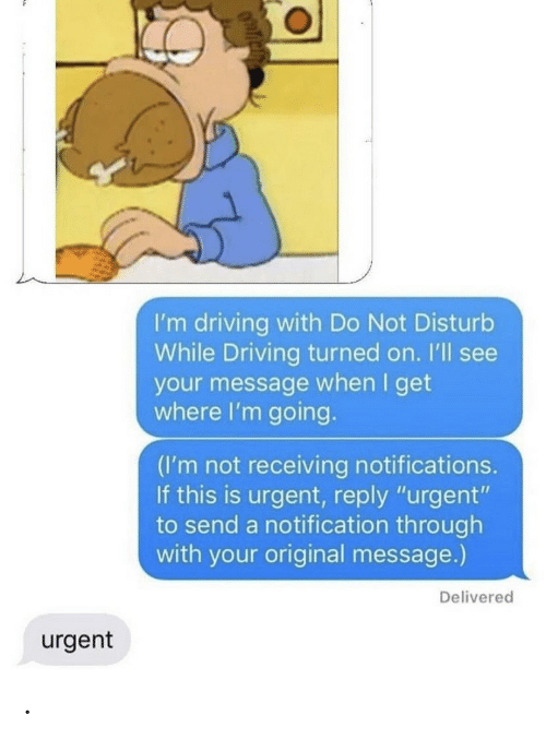 "Driving, Reply, and This: I'm driving with Do Not Disturb  While Driving turned on. I'll see  your message when I get  where I'm going.  (I'm not receiving notifications.  If this is urgent, reply ""urgent""  to send a notification through  with your original message.)  Delivered  urgent ."