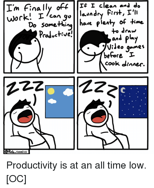 Games, Time, and Comics: I'm Finally off  m finca  Ic I clean anl do  1 clean-de  Domethinglhave pienty of time  to draw  and py  o games  before I  cook dianer.  AZz  Rob comics Productivity is at an all time low. [OC]