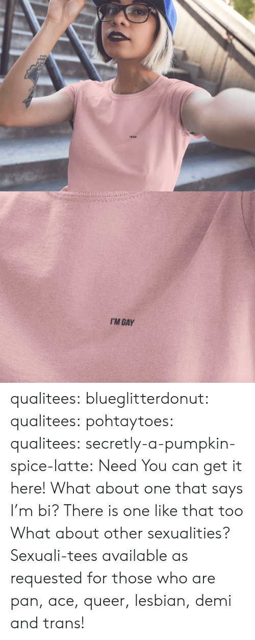 Sexualities: I'M GAY   I'M GAY qualitees:  blueglitterdonut:  qualitees:   pohtaytoes:  qualitees:   secretly-a-pumpkin-spice-latte: Need You can get it here!   What about one that says I'm bi?  There is one like that too   What about other sexualities?  Sexuali-tees available as requested for those who are pan, ace, queer, lesbian, demi and trans!