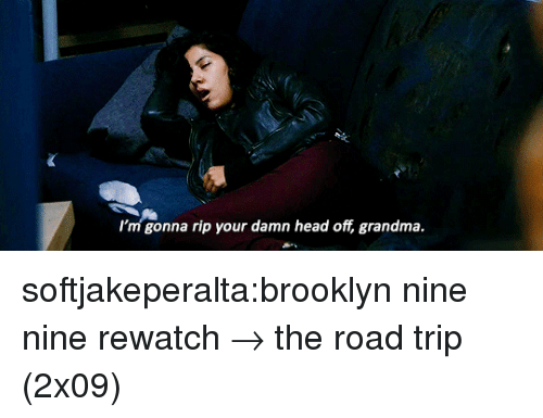 Nine Nine: I'm gonna rip your damn head off, grandma. softjakeperalta:brooklyn nine nine rewatch → the road trip (2x09)