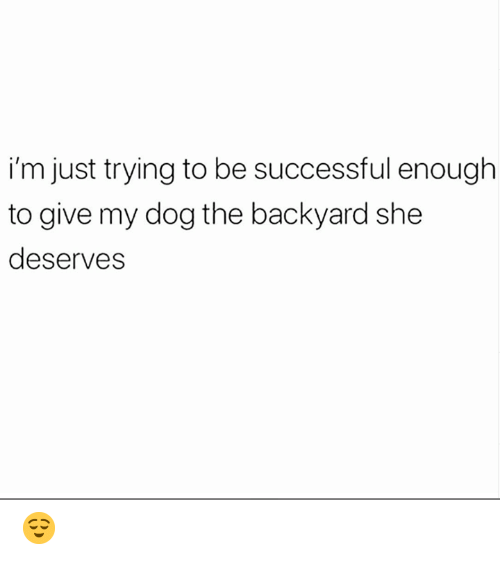 Be Successful: i'm just trying to be successful enough  to give my dog the backyard she  deserves 😌