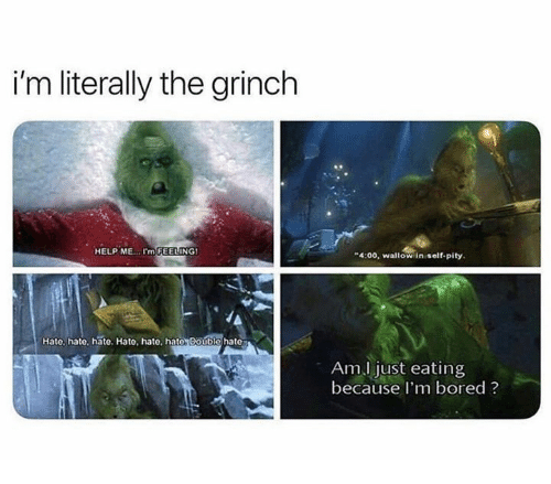The Grinch: i'm literally the grinch  HELP ME..I'm FEELING  4:00, waltow in self-pity  Hate, hate, hate. Hato, hate, hate Double hate  Am.l just eating  because I'm bored ?