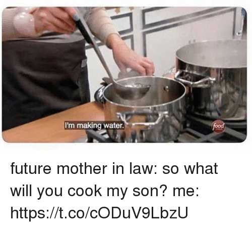 mother in law: I'm making water. future mother in law: so what will you  cook my son?  me: https://t.co/cODuV9LbzU