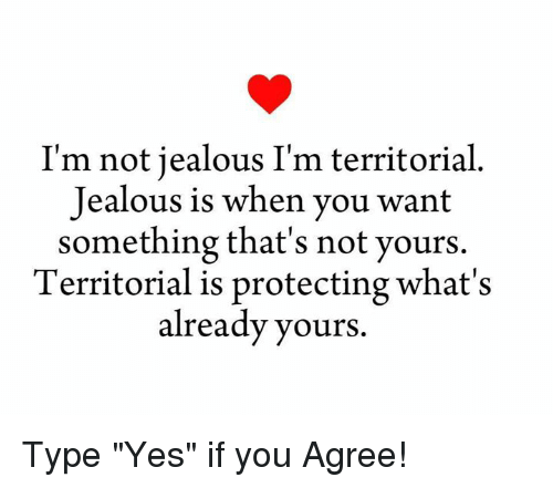 "Jealous, Memes, and 🤖: I'm not jealous I'm territorial  Jealous is when you want  something that's not yours  Territorial is protecting what's  already yours. Type ""Yes"" if you Agree!"
