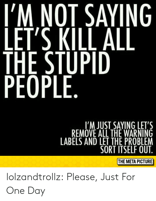 Im Not Saying: I'M NOT SAYING  LET'S KILL ALL  THE STUPID  PEOPLE  I'M JUST SAYING LET'S  REMOVE ALL THE WARNING  LABELS AND LET THE PROBLEM  SORT ITSELF OUT  THE META PICTURE lolzandtrollz:  Please, Just For One Day