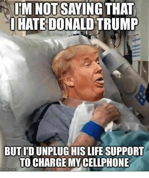 Donald Trump: IM NOT SAYING THAT  OHATE DONALD TRUMP  BUT ID UNPLUG HIS LIFE SUPPORT  TO CHARGE MY CELLPHONE  imrlip.com