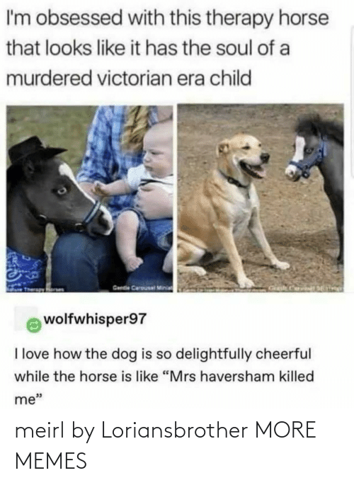 "Like It: I'm obsessed with this therapy horse  that looks like it has the soul of a  murdered victorian era child  Gende Carousal Minia  wolfwhisper97  I love how the dog is so delightfully cheerful  while the horse is like ""Mrs haversham killed  me"" meirl by Loriansbrother MORE MEMES"