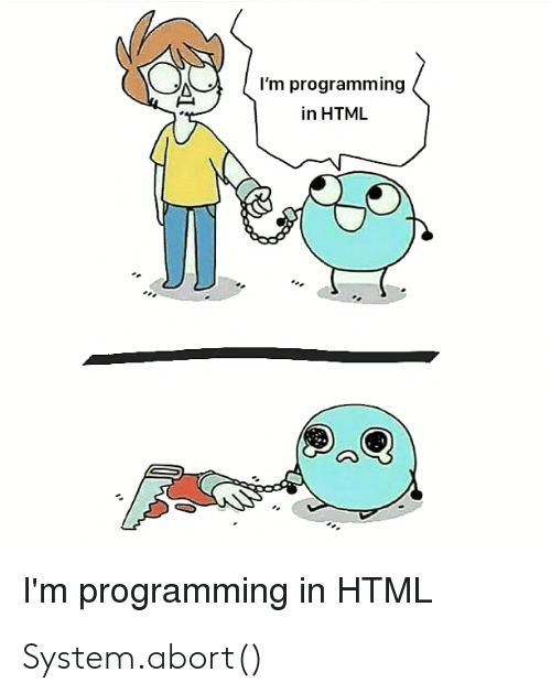 Programming, Html, and System: I'm programming  in HTML  I'm programming in HTML System.abort()
