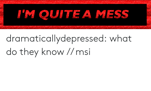 msi: I'M QUITE A MESS dramaticallydepressed:  what do they know // msi
