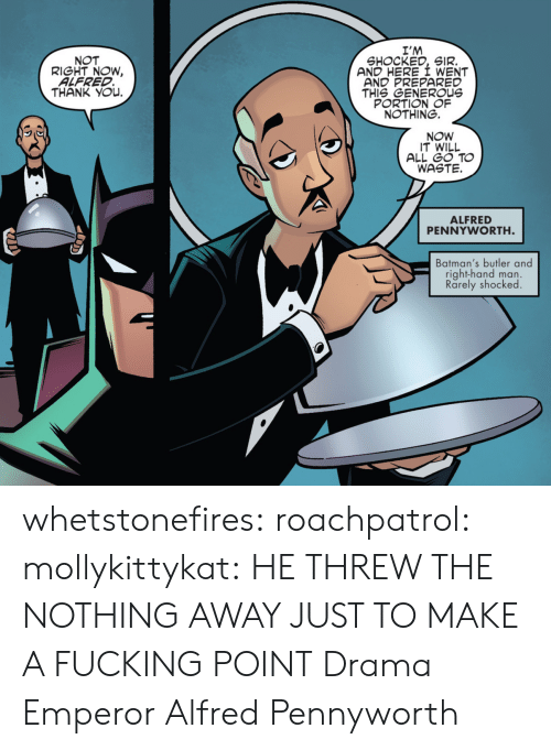 sir: I'M  SHOCKED, SIR.  AND HERE I WENT  AND PREPARED  THIS GENEROUs  PORTION OF  NOTHING.  NOT  RIGHT NOW,  ALFRED  THANK YOu.  NOW  IT WILL  ALL GO TO  WASTE.  ALFRED  PENNYWORTH  Batman's butler and  right-hand man.  Rarely shocked whetstonefires: roachpatrol:  mollykittykat:    HE THREW THE NOTHING AWAY JUST TO MAKE A FUCKING POINT  Drama Emperor Alfred Pennyworth