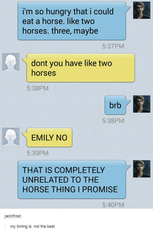 Im So Hungry: i'm so hungry that i could  eat a horse. like two  horses. three, maybe  5:37PM  dont you have like two  horses  5:38PM  brb  5:38PM  EMILY NO  5:39PM  THAT IS COMPLETELY  UNRELATED TO THE  HORSE THING I PROMISE  5:40PM  jacicfrost  my timing is. not the best