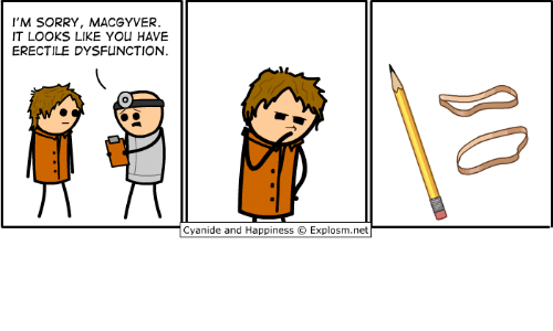 MacGyver: I'M SORRY, MACGYVER  IT LOOKS LIKE YOU HAVE  ERECTILE DYSFUNCTION  Cyan.de and Happiness © Explosm.net
