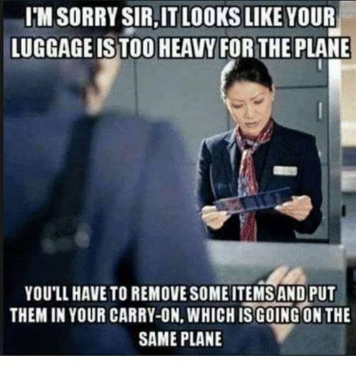 Sorry, Plane, and Them: I'M SORRY SIR,IT LOOKS LIKE YOUR  LUGGAGEISTOO HEAVY FORTHE PLANE  YOU'LL HAVE TO REMOVE SOME ITEMS AND PUT  THEM IN YOUR CARRY-ON, WHICHIS GOING ON THE  SAME PLANE