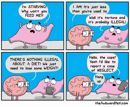 Theawkwardyeti: I'm STARVING!  I AM! It's just less  than you're used to  Why won't you  FEED ME?!  Well it's torture and  it's probably ILLEGAL!  N)  THERE'S NOTHING ILLEGAL  ABOUT A DIET! We just  need to lose some WEIGHT!  Hello, the cops?  Yeah I'd like to  report a case  of NEGLECT  Hang  up  A)  theAwkwardYeti.com