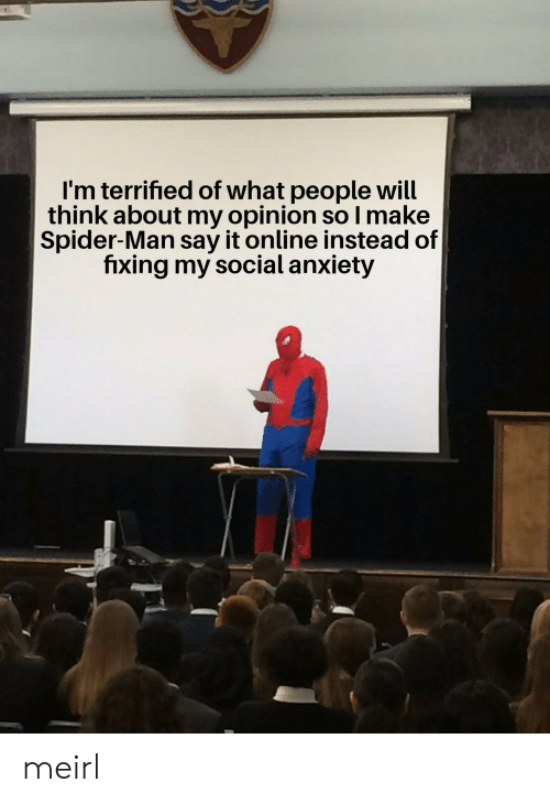 Spider, SpiderMan, and Say It: I'm terrified of what people will  think about my opinion so I make  Spider-Man say it online instead of  fixing my social anxiety meirl