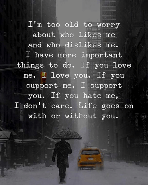 Likes Me: I'm too old to worry  about who likes me  and who dislikes me.  I h  ave more important  things to do. If you Love  me, I love you. If you  support me, I support  you. If you hate me,  I don't care. Life goes on  with or without you.  R O  0
