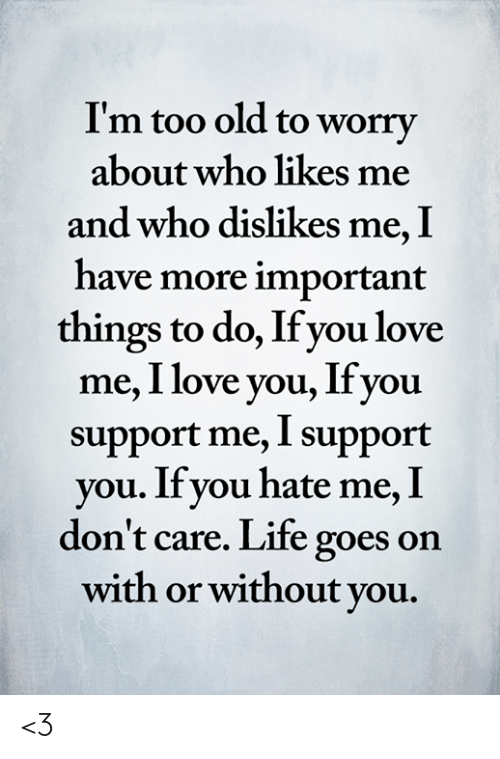 important things: I'm too old to worry  about who likes me  and who dislikes me, I  have more important  things to do, If you love  me, I love you, Ifyou  support me, I support  you. If you hate me, I  don't care. Life goes on  with or without you. <3