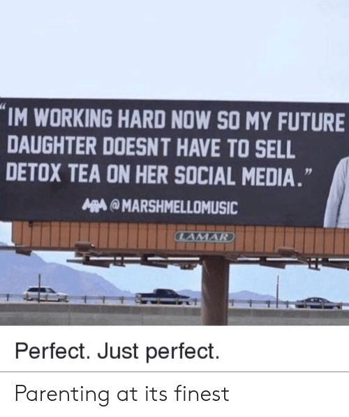 Im Working: IM WORKING HARD NOW SO MY FUTURE  DAUGHTER DOESNT HAVE TO SELL  DETOX TEA ON HER SOCIAL MEDIA.  MARSHMELLOMUSIC  Perfect. Just perfect. Parenting at its finest