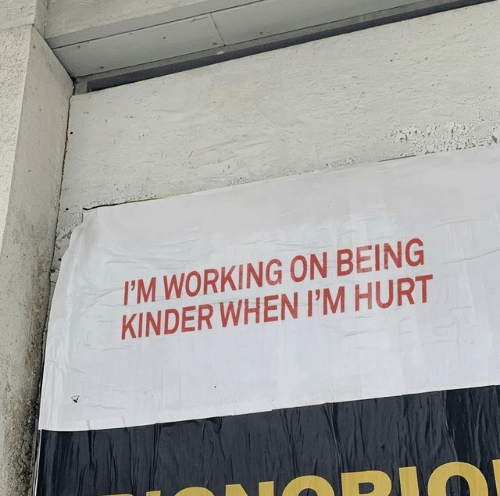 Im Working: I'M WORKING ON BEING  KINDER WHEN I'M HURT  LOPI