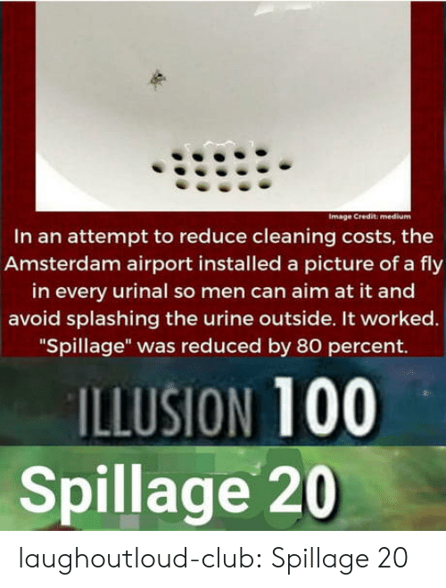 """Club, Tumblr, and Amsterdam: Image Credit: medium  In an attempt to reduce cleaning costs, the  Amsterdam airport installed a picture of a fly  in every urinal so men can aim at it and  avoid splashing the urine outside. It worked.  """"Spillage"""" was reduced by 80 percent.  ILLUSION 100  Spillage 20 laughoutloud-club:  Spillage 20"""