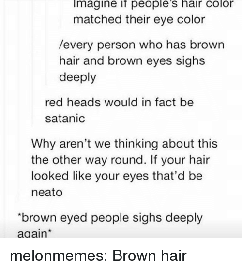 """eye color: Imagine if people's hair color  matched their eye color  /every person who has brown  hair and brown eyes sighs  deeply  red heads would in fact be  satanic  Why aren't we thinking about this  the other way round. If your hair  looked like your eyes that'd be  neato  """"brown eyed people sighs deeply  again melonmemes:  Brown hair"""