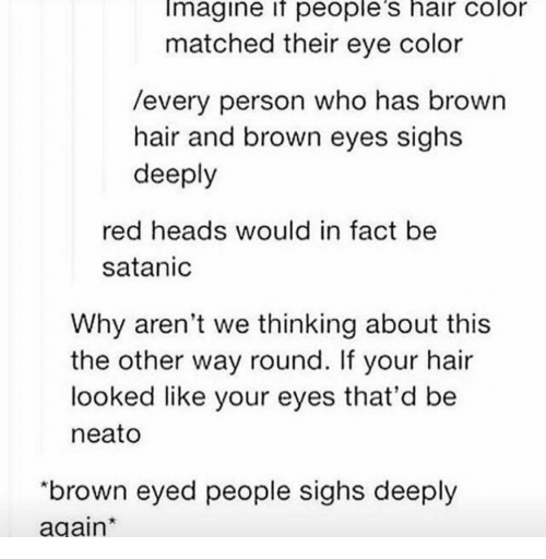 """eye color: Imagine if people's hair color  matched their eye color  /every person who has brown  hair and brown eyes sighs  deeply  red heads would in fact be  satanic  Why aren't we thinking about this  the other way round. If your hair  looked like your eyes that'd be  neato  """"brown eyed people sighs deeply  again"""