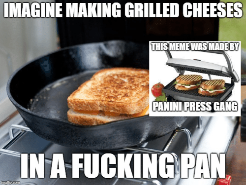 panini: IMAGINE MAKING GRILLED CHEESES  THISMEMEWASMADE BY  PANINI PRESS GANG  INA FUCKING PAN