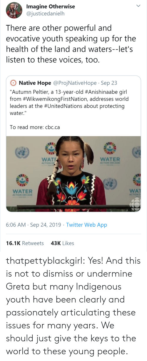 "Target, Tumblr, and Twitter: Imagine Otherwise  @justicedanielh  There are other powerful and  evocative youth speaking up for the  health of the land and waters--let's  listen to these voices, too.  Native Hope @ProjNativeHope Sep 23  ""Autumn Peltier, a 13-year-old #Anishinaabe girl  from #WikwemikongFirstNation, addresses world  leaders at the #UnitedNations about protecting  water.""  To read more: cbc.ca  WAT  WATER  ACTION DECA0E  ACTION D  WA  ACTION  WATER  ACTION DECADE  6:06 AM Sep 24, 2019 Twitter Web App  16.1K Retweets  43K Likes thatpettyblackgirl:  Yes! And this is not to dismiss or undermine Greta but many Indigenous youth have been clearly and passionately articulating these issues for many years.    We should just give the keys to the world to these young people."