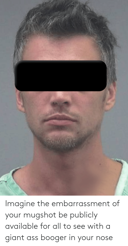 mugshot: Imagine the embarrassment of your mugshot be publicly available for all to see with a giant ass booger in your nose