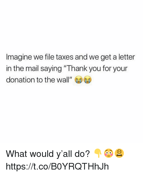 "Taxes, Thank You, and Mail: Imagine we file taxes and we get a letter  in the mail saying ""Thank you for your  donation to the wall"" What would y'all do? 👇😳😩 https://t.co/B0YRQTHhJh"