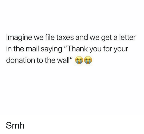 """Funny, Smh, and Taxes: Imagine we file taxes and we get a letter  in the mail saying """"Thank you for your  donation to the wall"""" Smh"""