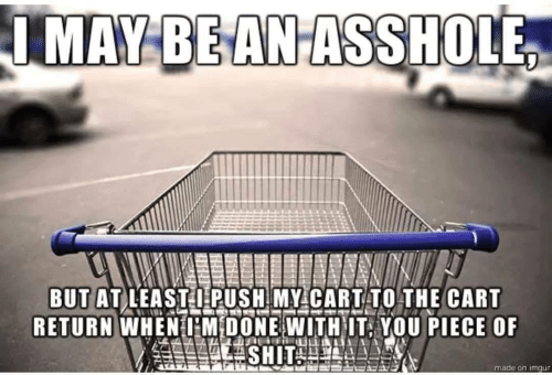 Cart: IMAY BEANASSHOLE  BUT AT LEASTI PUSH MY CARTTO THE CART  RETURN WHENHM DONE WITHIT, YOU PIECE OF  made on imgur