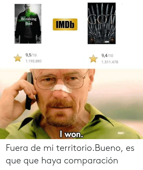 Bad, Breaking Bad, and Hbo: IMDb  Breaking  Bad  APRIL 14 HBO  9,5/10  9,4/10  1.193.880  1.511.478  l won  амс Fuera de mi territorio.Bueno, es que que haya comparación