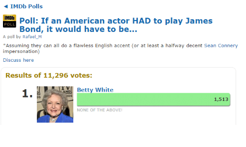 Sean Connery: IMDb Polls  IMDb  POLL  Poll: If an American actor HAD to play James  Bond, it would have to be  A poll by Rafael_M  Assuming they can all do a flawless English accent (or at least a halfway decent Sean Connery  impersonation)  Discuss here  Results of 11,296 votes:  1.  Betty White  os  1,513  NONE OF THE ABOVE